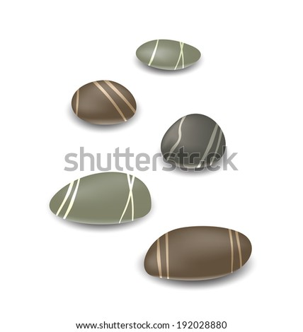 Illustration sea pebbles collection with shadows on white background - vector - stock vector