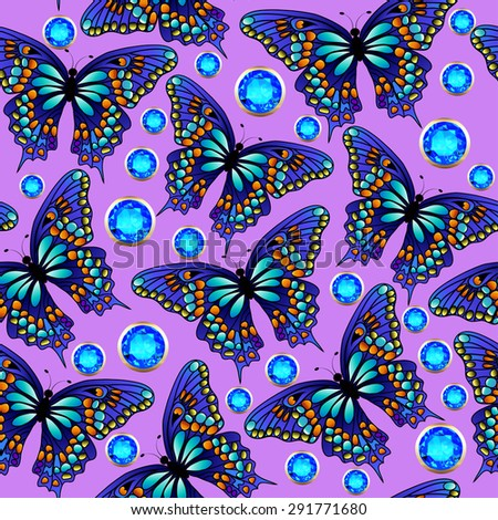 illustration seamless background with butterflies and jewels - stock vector