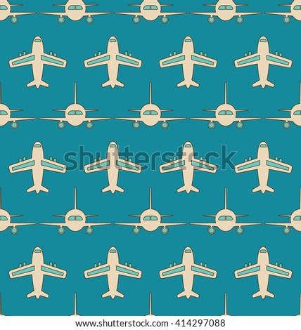 Illustration Seamless Background with Flying Transports. Plane, Jet, Airplane, Aircraft, Airliner, Aeroplane - Vector - stock vector