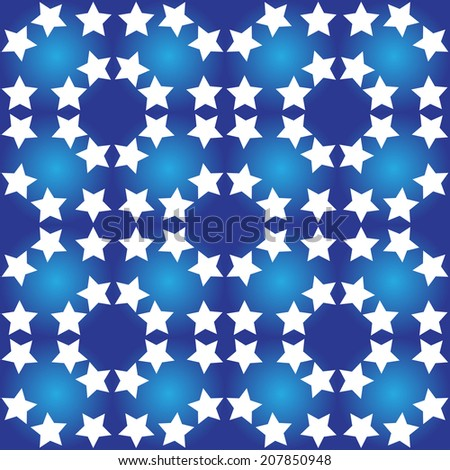 Illustration seamless pattern of white stars on a blue background