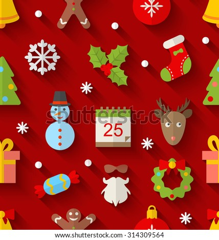 Illustration Seamless Pattern with Christmas Colorful Objects and Elements with Long Shadows - Vector - stock vector