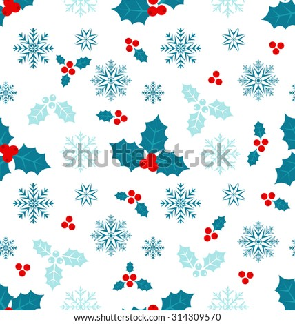 Illustration Seamless Pattern with Christmas Holly Berry and Snowflakes - vector - stock vector