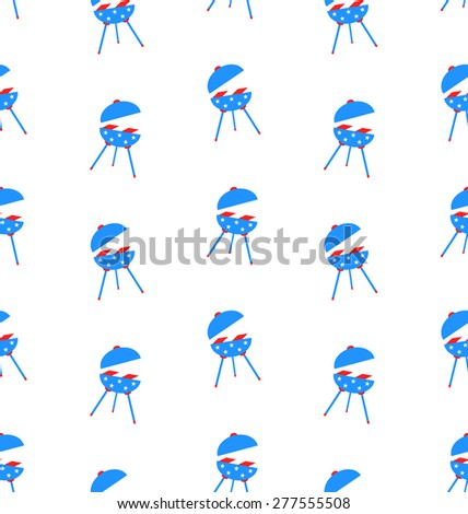 Illustration Seamless Texture Barbecue for Independence Day of America, US National Colors - Vector - stock vector