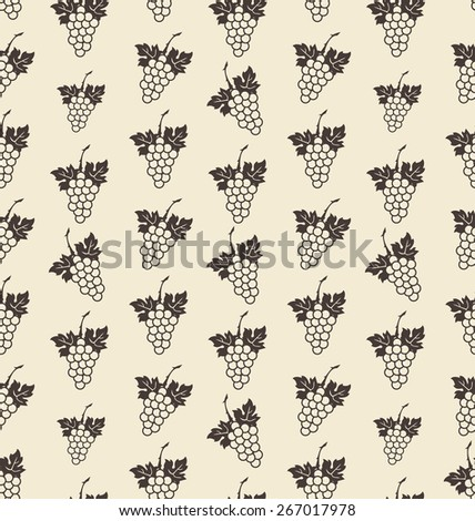 Illustration Seamless Texture with Bunch of Grape, Vintage Pattern - Vector - stock vector