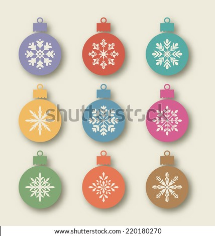 Illustration set Christmas balls with different snowflakes, vintage style - vector - stock vector