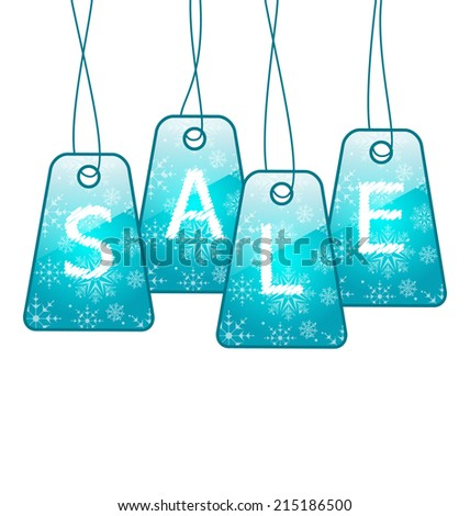 Illustration set Christmas colorful discount tickets - vector - stock vector
