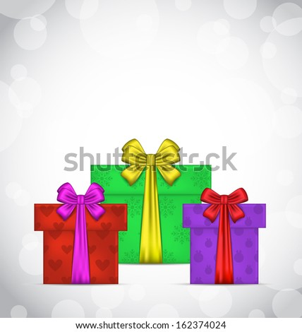 Illustration set Christmas gift boxes on light background - vector - stock vector