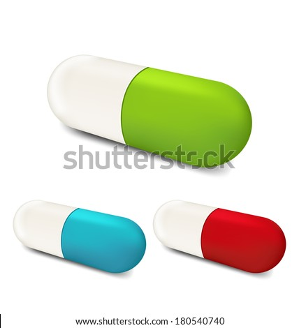 Illustration set colorful pills isolated on white background (2) - vector - stock vector