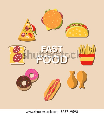 Illustration Set Fast Food Flat Icons with Shadows - Vector - stock vector
