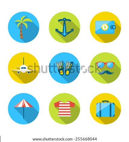 Illustration set flat icons of traveling, tourism and journey objects, modern long shadow style - vector - stock vector