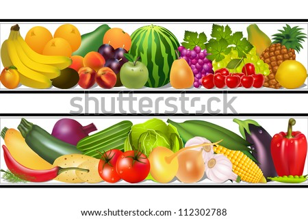 illustration set food vegetables and fruits painting vector damp - stock vector