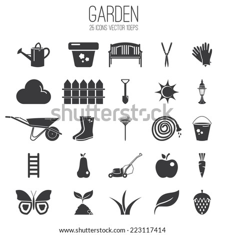 Illustration set icon of garden. Vector - stock vector