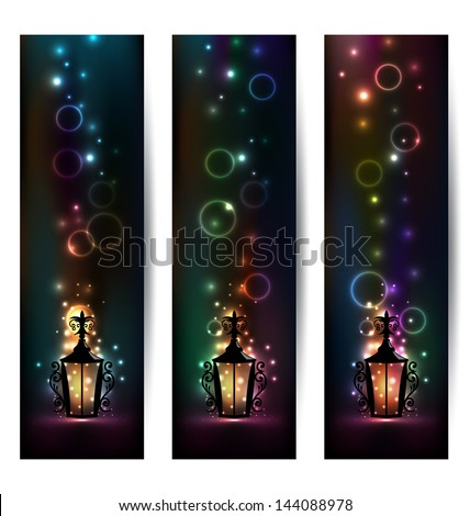 Illustration set light banners with lantern - vector - stock vector