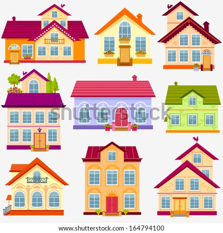 illustration set magnificent colorful houses - stock vector