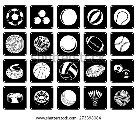 Illustration Set of 20 Assorted Icon of Sport Balls and Sport Items in Black and White Colors.