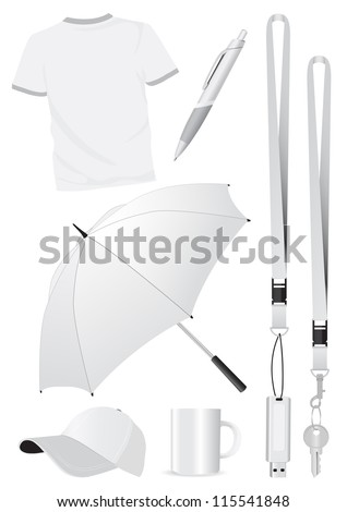 Illustration set of blank mock-up promotional gifts. All vector parts are isolated and grouped. Colors are easy to customize. - stock vector