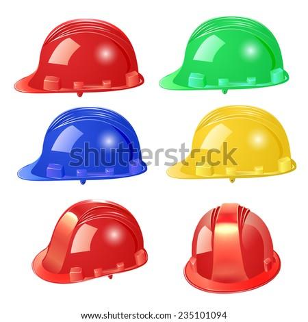 illustration set of building helmet on a white background - stock vector