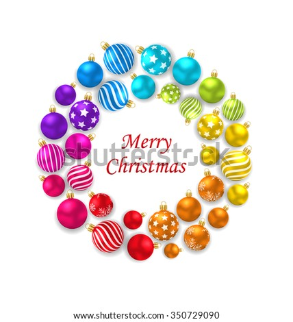 Illustration Set of Colorful Christmas Glass Balls, Round Frame - Vector - stock vector