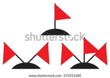 Illustration set of different amounts of red flags - stock vector