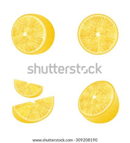 Illustration Set of Fruit Lemons Isolated on White Background, Photo Realistic Fruits - Vector - stock vector