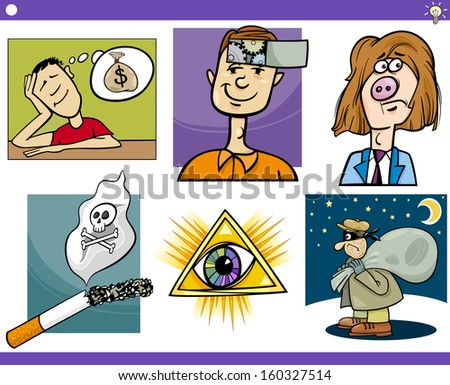 Illustration Set of Humorous Cartoon Vector Concepts or Ideas and Metaphors with Funny Characters - stock vector