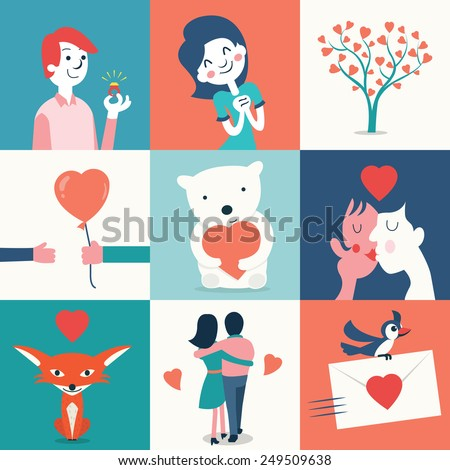 Illustration set of love and Valentine's day concept, boyfriend, girlfriend, tree of love, bear with heart, fox, kissing lovers, holding together and love letter.  - stock vector