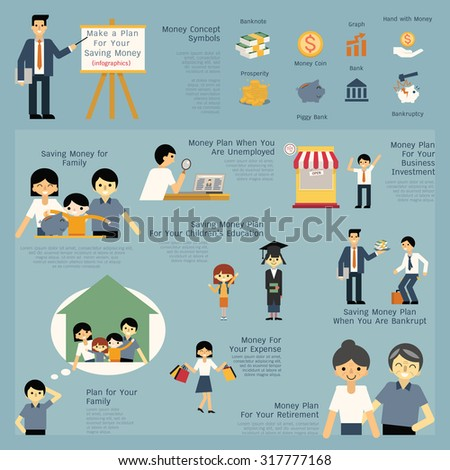 Illustration set of money and financial saving concept, presenting, job, career, entrepreneur, education, retirement, bankruptcy, family. Simple character of man, children and family.    - stock vector