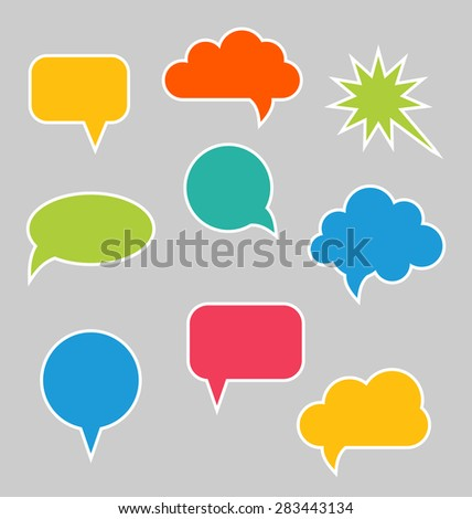 Illustration Set of Multicolored Speech Bubbles with Copy Space for Your text - Vector - stock vector