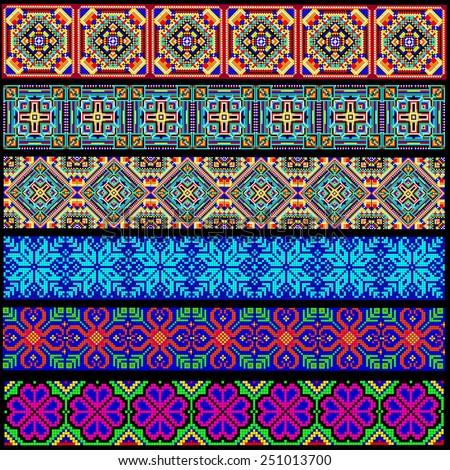 illustration set of ornamental braid strips of colored geometric ornament - stock vector