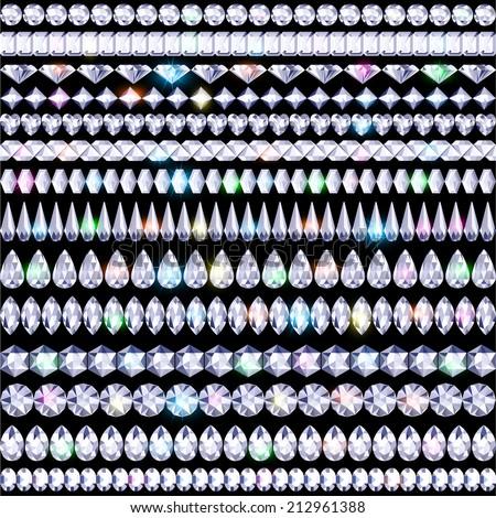 illustration set of shining borders of precious stones - stock vector