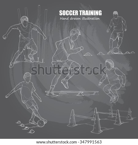 illustration set of soccer training. chalk drawing.