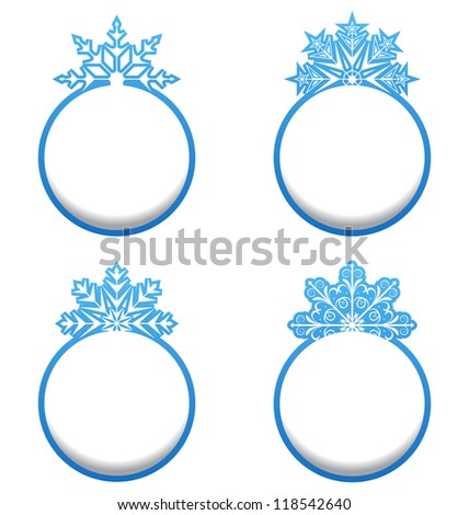 Illustration set of variation label with snowflakes isolated - vector - stock vector