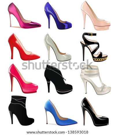 Excellent Illustration Set Of Women39S Shoes With Heels  114975382