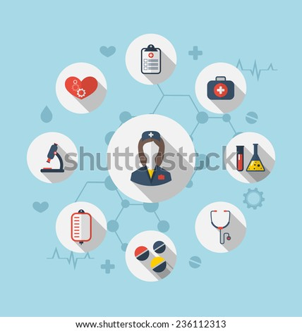Illustration set trendy flat icons of medical elements and nurse - vector