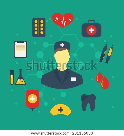 Illustration set trendy flat medical icons - vector