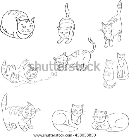 Illustration Set with the image of cats. black and white, line