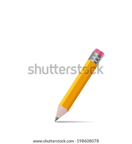 Illustration sharpened wooden pencil with shadow, on white background - vector - stock vector