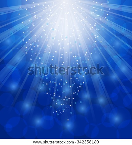 Illustration Shimmering Xmas Light Background with Rays, Winter Wallpaper - Vector - stock vector