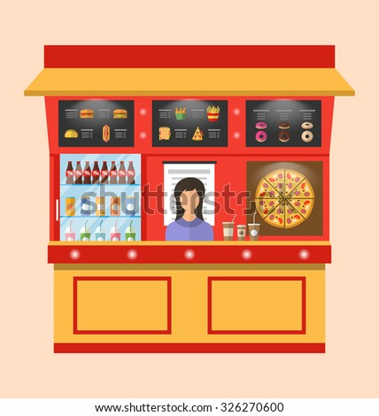Illustration Showcase Shop of Fast Food with Seller, Modern Simple Design - Vector - stock vector