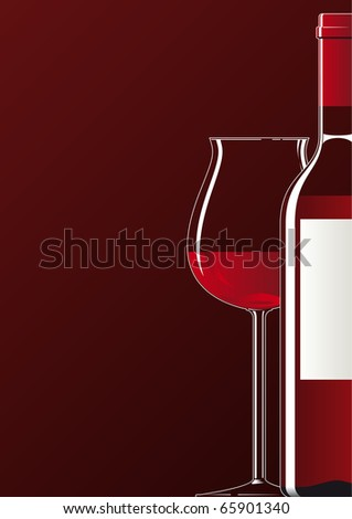 Illustration showing a bottle and a glass of red wine