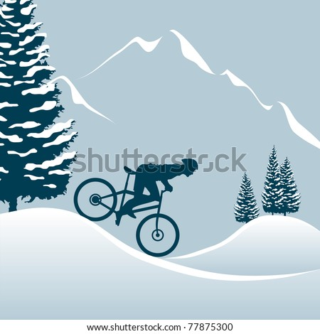 Illustration showing a man on a mountain bike in winter