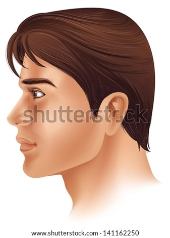 Illustration showing a side view of a man's face - stock vector