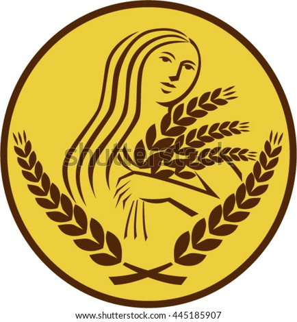 Illustration showing Demeter, Greek goddess of the harvest and agriculture, who presided over grains and fertility holding wheat grain viewed front set inside oval isolated background retro style