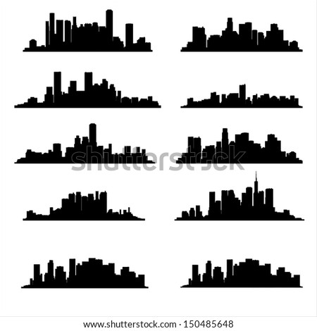 illustration  silhouette city - stock vector