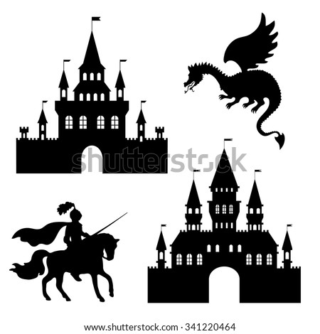 illustration silhouette of a castle, a knight and a dragon - stock vector
