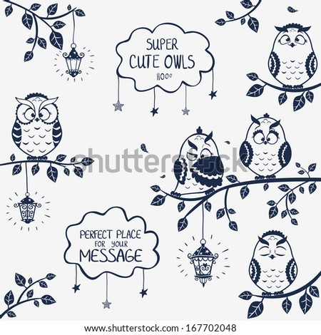 illustration silhouette of funny owls sitting on a branch - stock vector