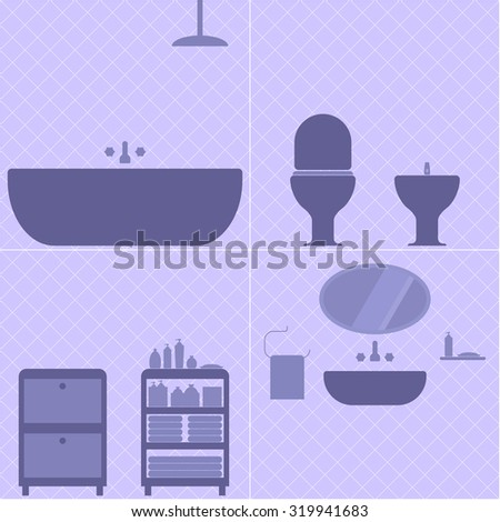 Illustration silhouette set of a bathroom in violet shades. Vector set of bathtub, shower, toilet, bidet, washstand with mirror, shelves with towels and soap. Fully editable file for your projects.