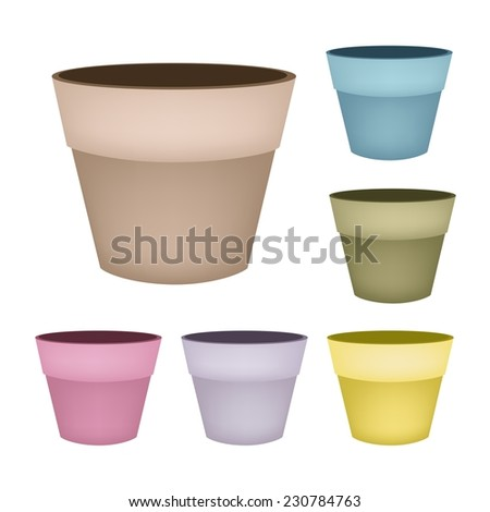 six colors of empty ceramic flower pots or clay plant pots isolated on a white