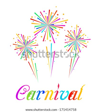 Illustration sketch abstract colorful exploding firework for Carnival party - vector - stock vector