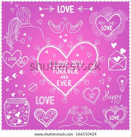 illustration sketch love doodle vector set - stock vector